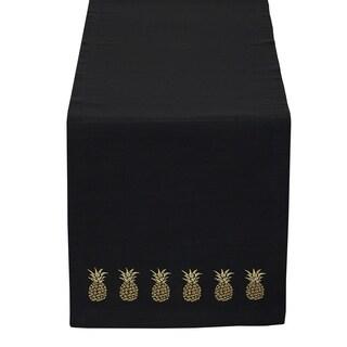 Black & Gold Pineapple Embroidered Table Runner