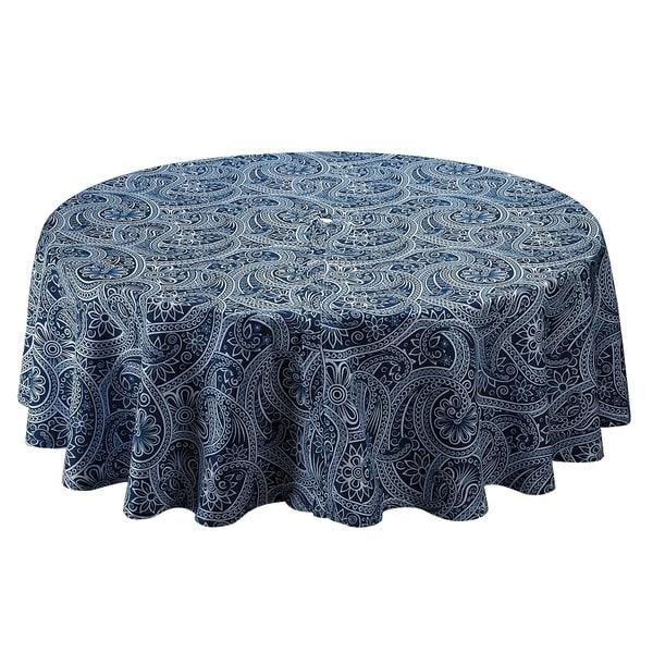 Merveilleux Blue Paisley Umbrella Tablecloth
