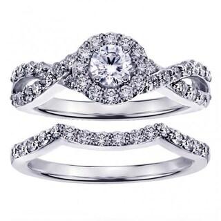 Platinum 1 1/6ct Braided Round Diamond Engagement Wedding Band Set
