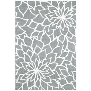 "Porch & Den Pennington Grey Floral Microfiber Area Rug - 7'10"" x 10'10"""