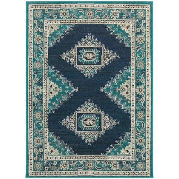 Style Haven Global Influence Persian Blue/Ivory Rug - 9'10 x 12'10