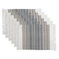 Black Striped Fringe Placemat Set of 6