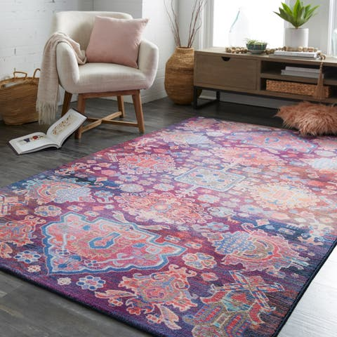 Silver Orchid Hinding Geometric Medallion Area Rug