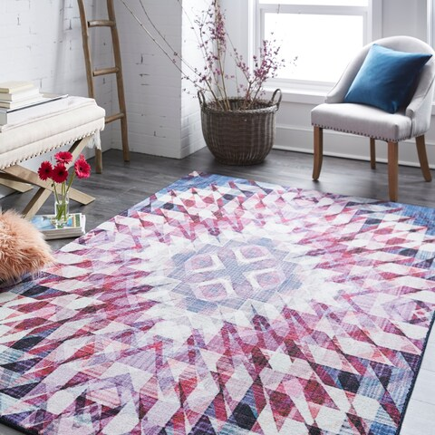 Silver Orchid Hinding Geometric Area Rug - 5' x 8'