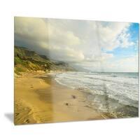 Designart 'Waves Meet Sand' Landscape Photography Metal Wall Art