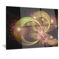 Designart 'Symmetrical Green Fractal Flower' Digital Art Floral Metal Wall Art