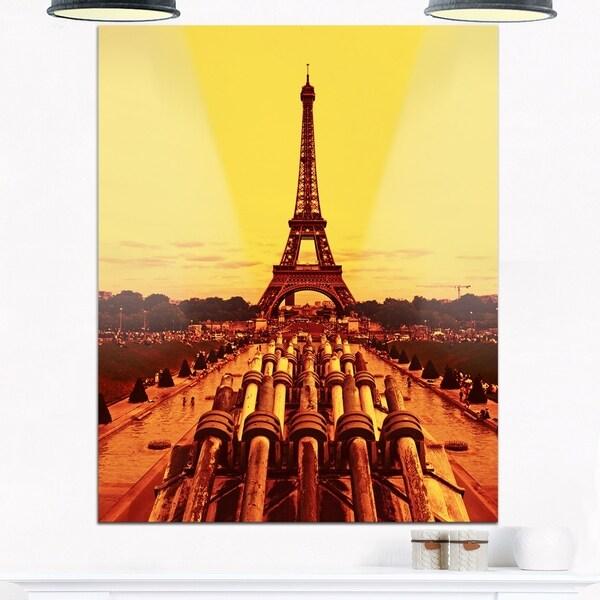 Vintage View of Paris Eiffel Tower Paris - Cityscape Glossy Metal ...