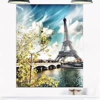 Vegetation Near Eiffel Tower - Landscape Photo Glossy Metal Wall Art