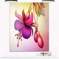 Fuchsia Flowers with Green Leaves - Large Floral Glossy Metal Wall Art
