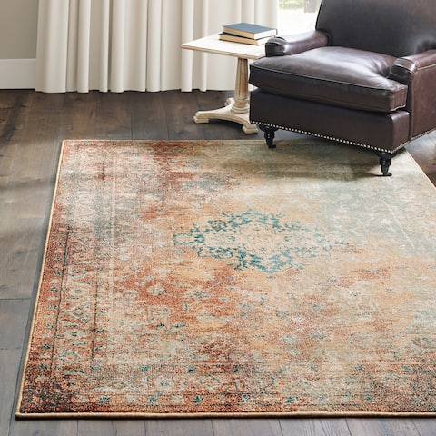 """Carson Carrington Vedde Distressed Traditional Rust/Gold Area Rug - 6'7"""" x 9'6"""""""