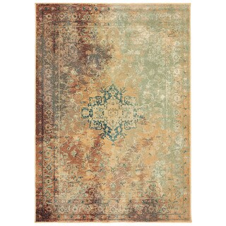 """Palm Canyon Tulare Distressed Traditional Rust/Gold Area Rug - 6'7"""" x 9'6"""""""