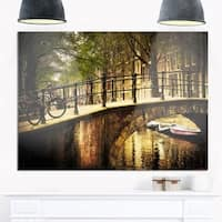 Phase1 Romantic Bridge Over Canal - Landscape Photo Glossy Metal Wall Art