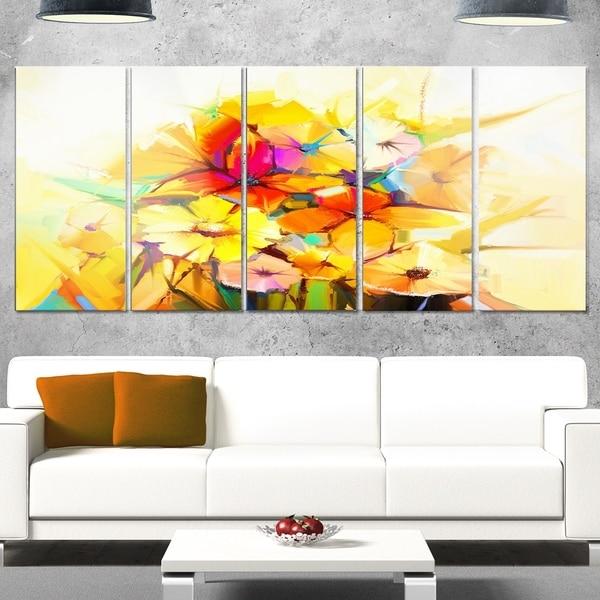 Phase1 Designart \'Fantastic Colorful Gerbera Flowers\' Modern Floral ...