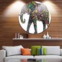 Phase1 Designart 'Floral Cheerful Elephant' Animal Digital Art Large Disc Metal Wall art
