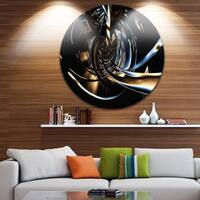Phase1 Designart 'Fractal 3D Tangled Stripes' Abstract Art Round Metal Wall Art