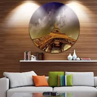 Phase1 Designart 'Eiffel Tower and Gorgeous Sky' Photography Round Wall Art