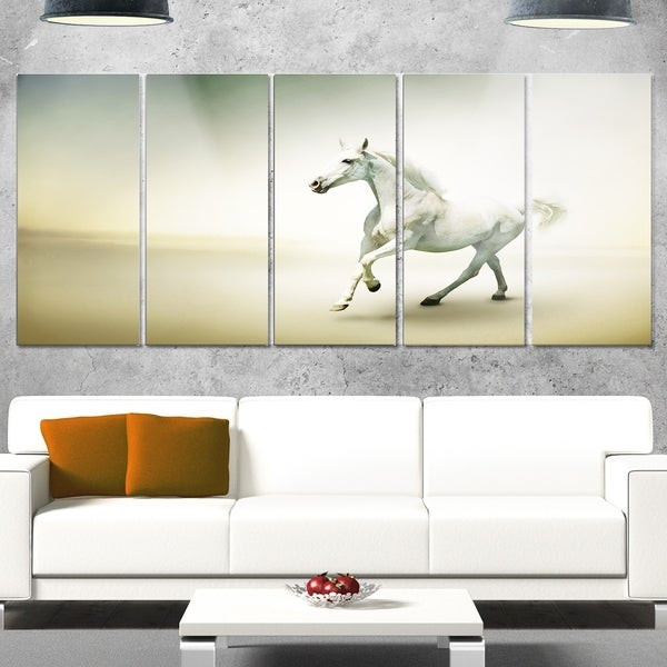 Shop Phase1 Designart \'White Horse in Motion\' Extra Large Animal ...