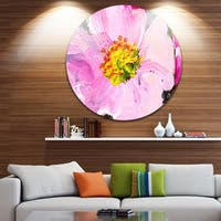Phase1 Designart 'Pink Flower Oil Painting' Floral Art Painting Circle Wall Art