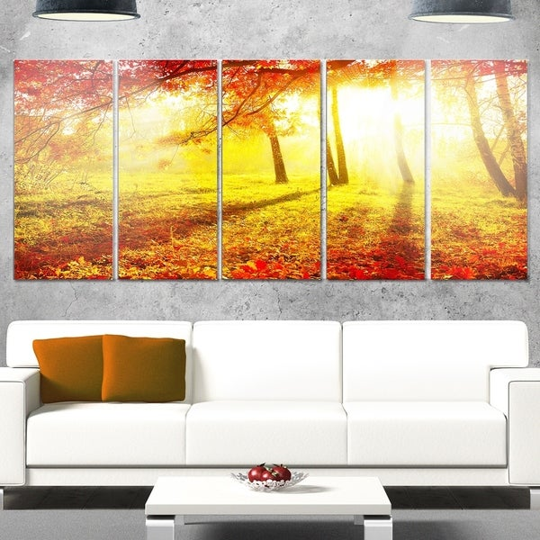 Phase1 Designart \'Yellow Red Fall Trees and Leaves\' Landscape ...
