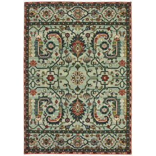 """Silver Orchid Clemente Vintage Tribal Green/Rust Area Rug - 6'7"""" x 9'6"""""""