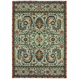 """The Curated Nomad Clemente Vintage Tribal Green/Rust Area Rug - 6'7"""" x 9'6"""""""