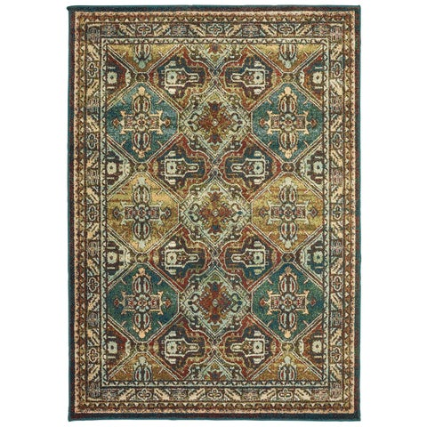Copper Grove Slatina Teal and Brown Area Rug - 6'7 x 9'6