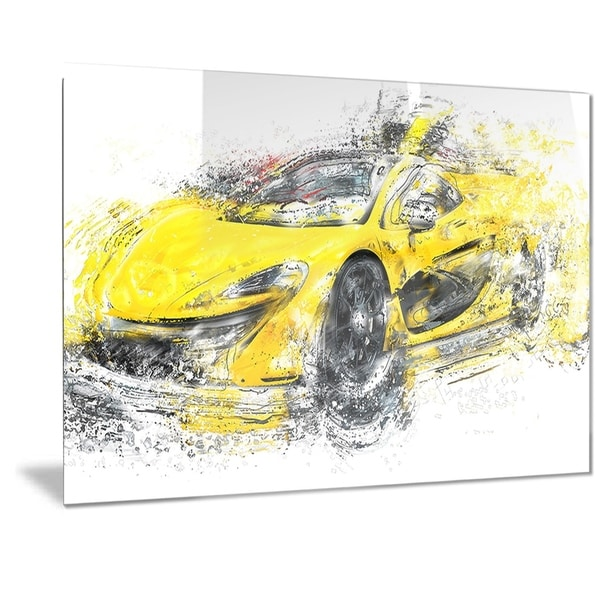 Phase1 Designart Yellow Exotic Car Metal Wall Art - Free Shipping ...