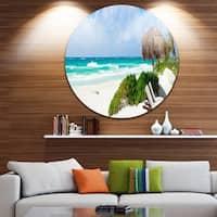 Phase1 Designart 'Calm Caribbean Beach Panorama' Photo Landscape Circle Wall Art