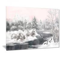 Phase1 Designart 'Grey Winter Vector' Landscape Watercolor Metal Wall Art