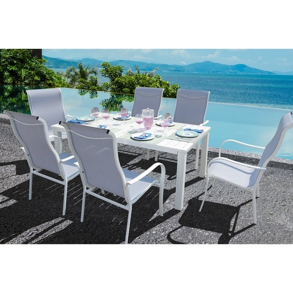 Captivating Lizy 7 Pc Oceanside Bue Dining Set