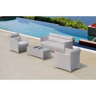 Bellini Cyprus Grey Fabric Upholstered 4-piece Deep Seating Set