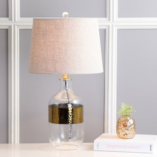 "Stevens 25.5"" Glass LED Table Lamp, Clear/Brass"
