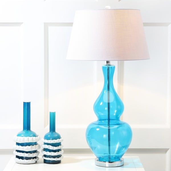 "Dixon 33.5"" Glass LED Table Lamp, Turquoise"