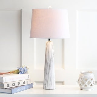 "Bradley 29"" Resin Table Lamp, White/Black Faux Marble by JONATHAN  Y"