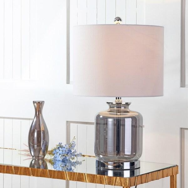 """Marsh 22"""" Glass LED Table Lamp, Smoked Gray"""