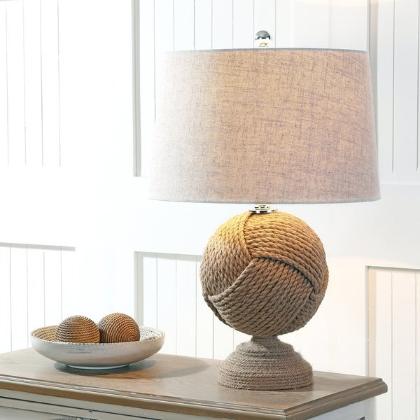 """Monkey's Fist 24"""" Knotted Rope LED Table Lamp, Brown"""