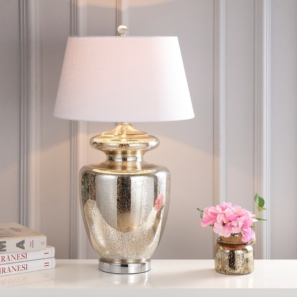 "Hughes 31"" Glass LED Table Lamp, Mercury Glass"