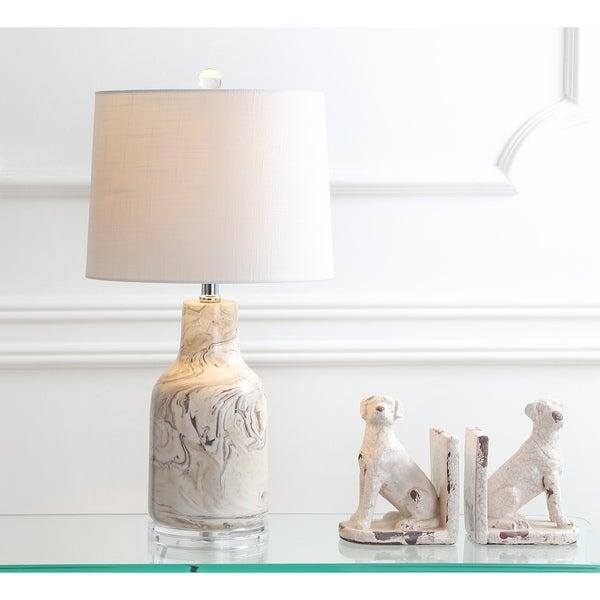 """Webb 23"""" Ceramic LED Table Lamp, Gray/White"""