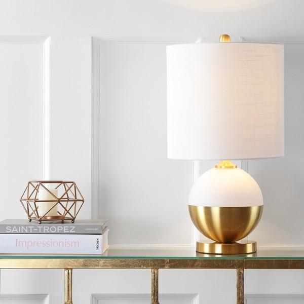 "Carr 23.5"" Ceramic/Metal LED Table Lamp, White/Brass"