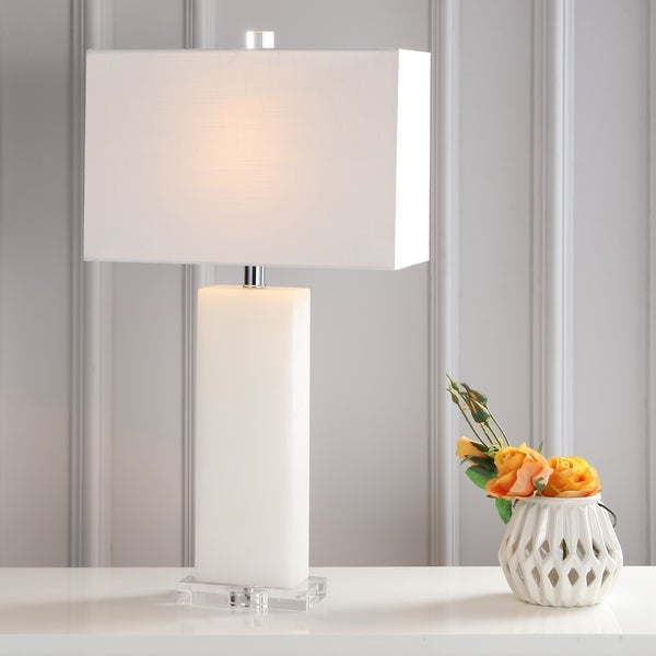 "Tiggie 27"" Alabaster LED Table Lamp, White Alabaster"