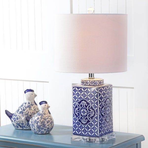 """Choi 23"""" Chinoiserie LED Table Lamp, Blue/White"""