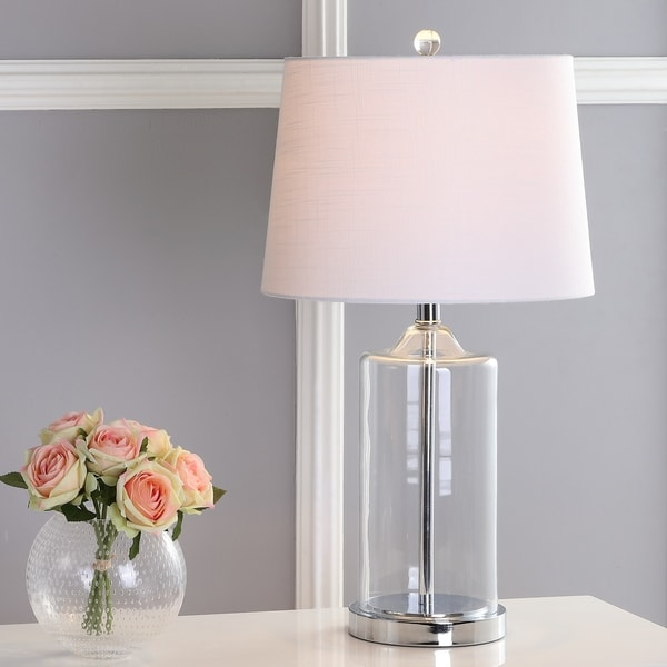 """Walsh 25"""" Glass Table Lamp, Clear/Chrome by JONATHAN Y"""