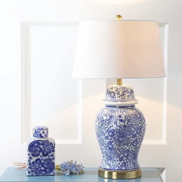 "Ellis 29.5"" Ceramic LED Table Lamp, Blue/White"