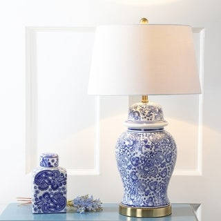 "Ellis 29.5"" Ceramic Table Lamp, Blue/White by JONATHAN  Y"
