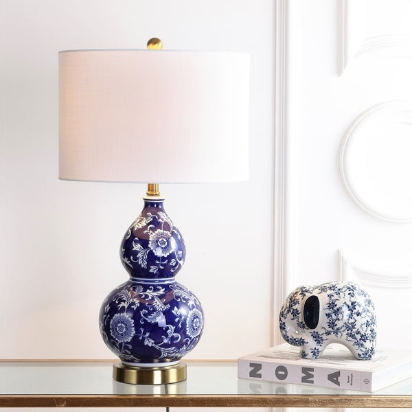 "Lee 27"" Ceramic Chinoiserie LED Table Lamp, Blue/White"