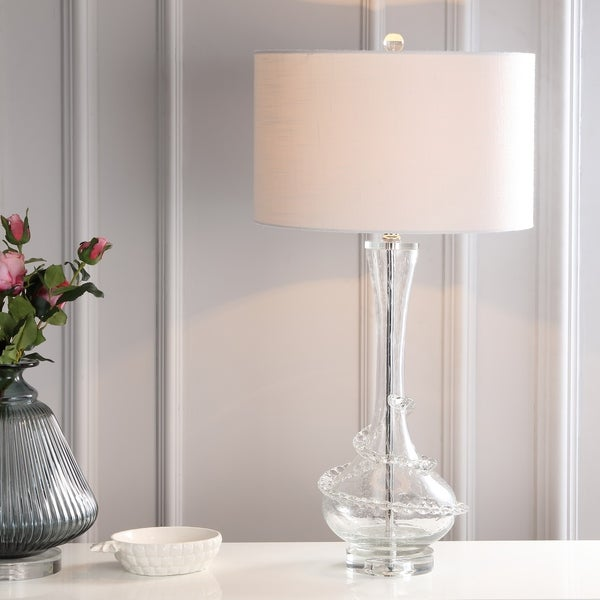 "Belle 31.5"" Glass LED Table Lamp, Clear/Chrome"
