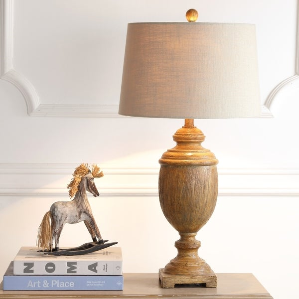 """Kennedy 30.5"""" Resin LED Table Lamp, Brown Faux Wood"""