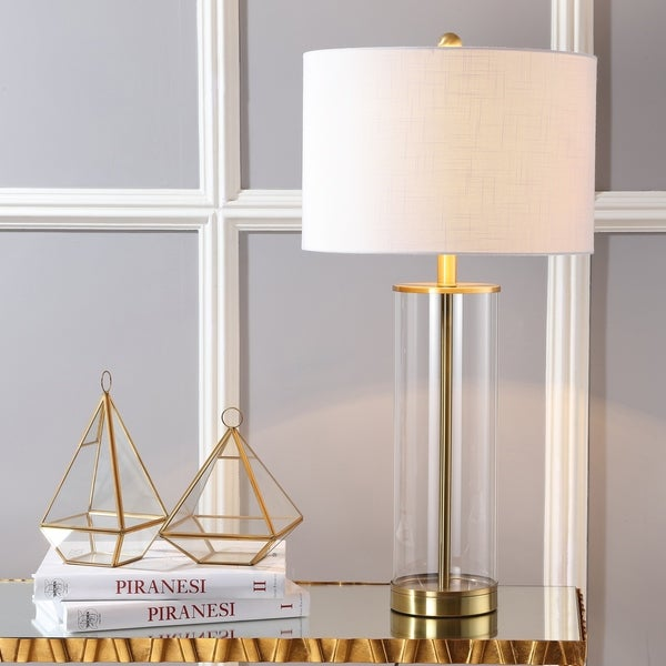 "Collins 29.25"" Glass LED Table Lamp, Brass Gold by JONATHAN Y"