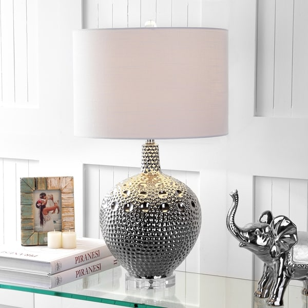 "Andrews 27"" Ceramic LED Table Lamp, Chrome"
