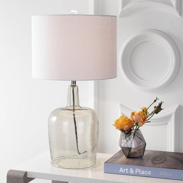 "Augustine 26"" Glass LED Table Lamp, Smoked Gray"